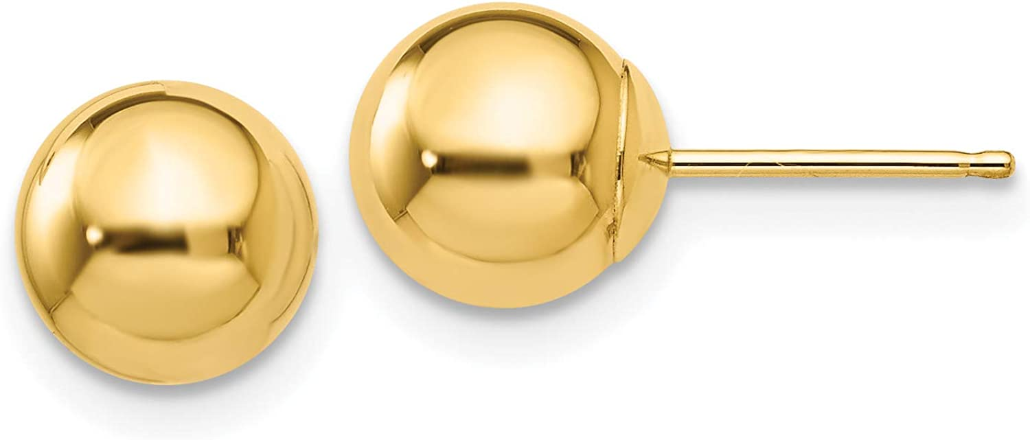 14K Yellow Gold Polished 7mm Ball Post Earrings (Approximate Measurements 7mm x 7mm)