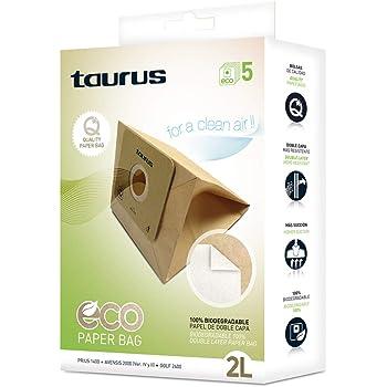 Taurus 999193000 Paquete de 5 bolsas de papel ECO para aspiradores trineo de 2 litros de capacidad, biodegradables, Plastic: Amazon.es: Hogar