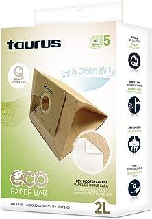 comprar comparacion Taurus 999193000 Paquete de 5 Bolsas de Papel Eco para aspiradores Trineo de 2 litros de Capacidad, biodegradables, Plasti...
