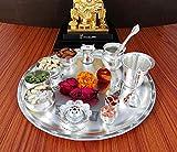 GoldGiftIdeas 12 Inch Sarovar Silver Plated Pooja Thali Set