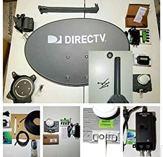 New 2019 AT&T Directv HD Satellite Dish Low Mast SWM 3 LNB + RG6 COAXIAL Cables 50 ft Included Ka/ku Slim Line Dish Antenna SWM 3 Single Output W/ 4 Port Splitter + Power 21 v + Signal Finder + Level