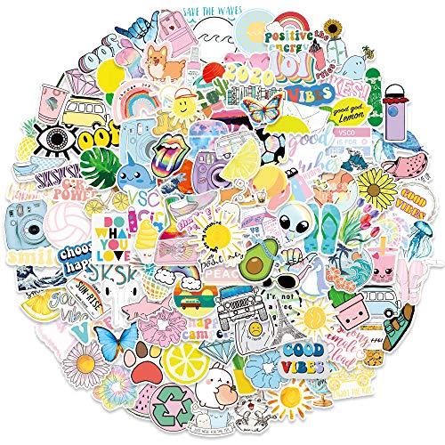 QWDDECO VSCO Style Sticker Set 200 PCS Kawaii Aufkleber Sticker for Laptop, Wasserflaschen, Skateboard, Notebook, Gitarre, Reise, Fahrrad, Box