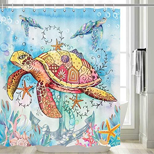 Turtle Shower Curtain, Tropical Fish Starfish Shower Curtain,Watercolor Turtles Shower Curtain Nautical Bathroom Set, Ocean Sea Marine Shower Curtain for Kids, Turtle Curtain Set with Hooks, 70x70inch