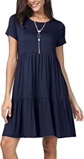 Women Summer Short Sleeve Ruffle Loose Swing Casual T Shirt Dress