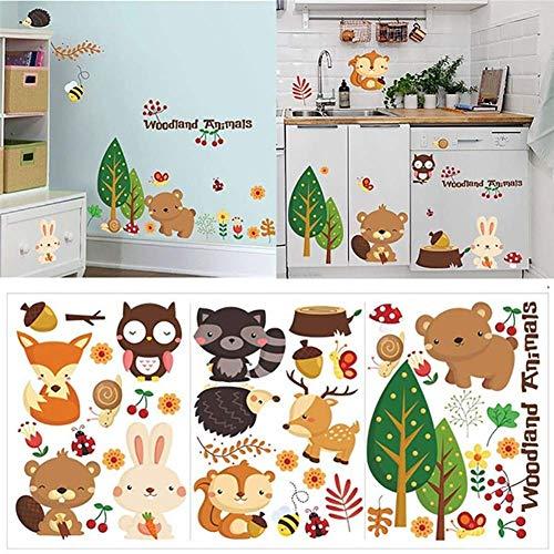 Siamrose Adhesivo decorativo para pared, diseño de animales del bosque, autoadhesivo, extraíble, para dormitorio, habitación de niños, decoración de pared, con estilo y popular LTLNB