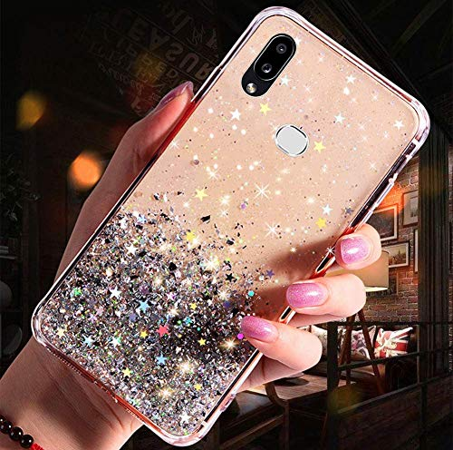 Uposao Kompatibel mit Samsung Galaxy A10S Hülle Glänzend Glitzer Strass Diamant Sterne Transparent TPU Silikon Handyhülle Weiche Dünn Durchsichtig Schutzhülle Tasche Crystal Case,Silber