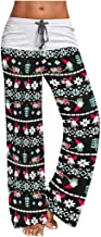Women's Christmas Comfy Casual Pajama Pants Elk Print Drawstring Sweatpants High Waist Wide Leg Lounge Pants