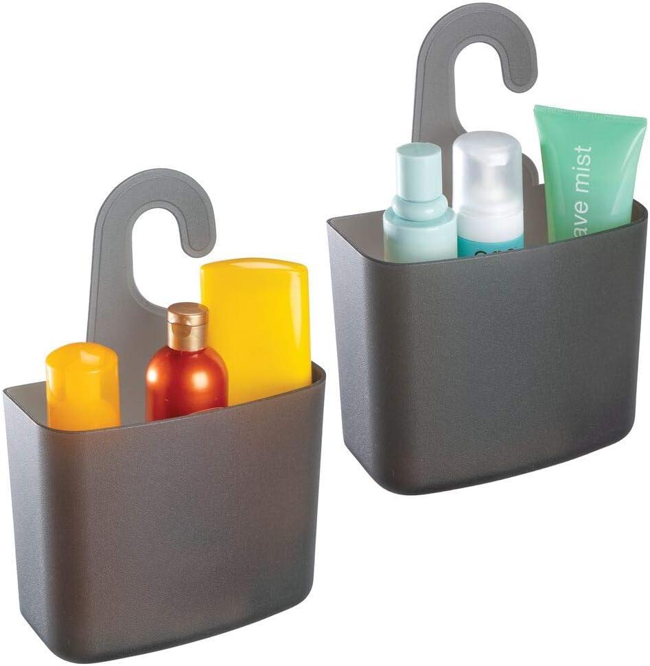 mDesign Juego de 2 cestas de ducha – Estante de ducha grande con orificios de desagüe para champú, gel o maquinilla de afeitar – Cesto de baño para guardar juguetes, sales de baño y más – negro