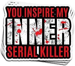 3 PCs Stickers Inner Serial Killer Funny Morbid Joke Serial Killer 3×4 Inch Die-Cut Wall Decals for Laptop Window Car Bumper Helmet Water Bottle