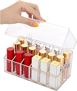 Sooyee 18 Compartments Clear Acrylic Lipstick and Lip Gloss Organizer with Lid,Dustproof Nail Polish Display Cases