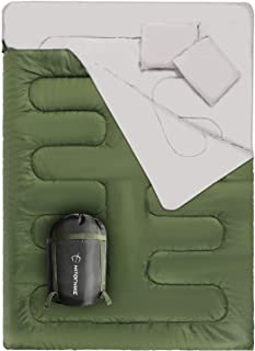 HITORHIKE Double Sleeping Bag with Pillows for Camping, Hiking, Traveling, Backpacking, Queen Size XL Lightweight 2 Person...