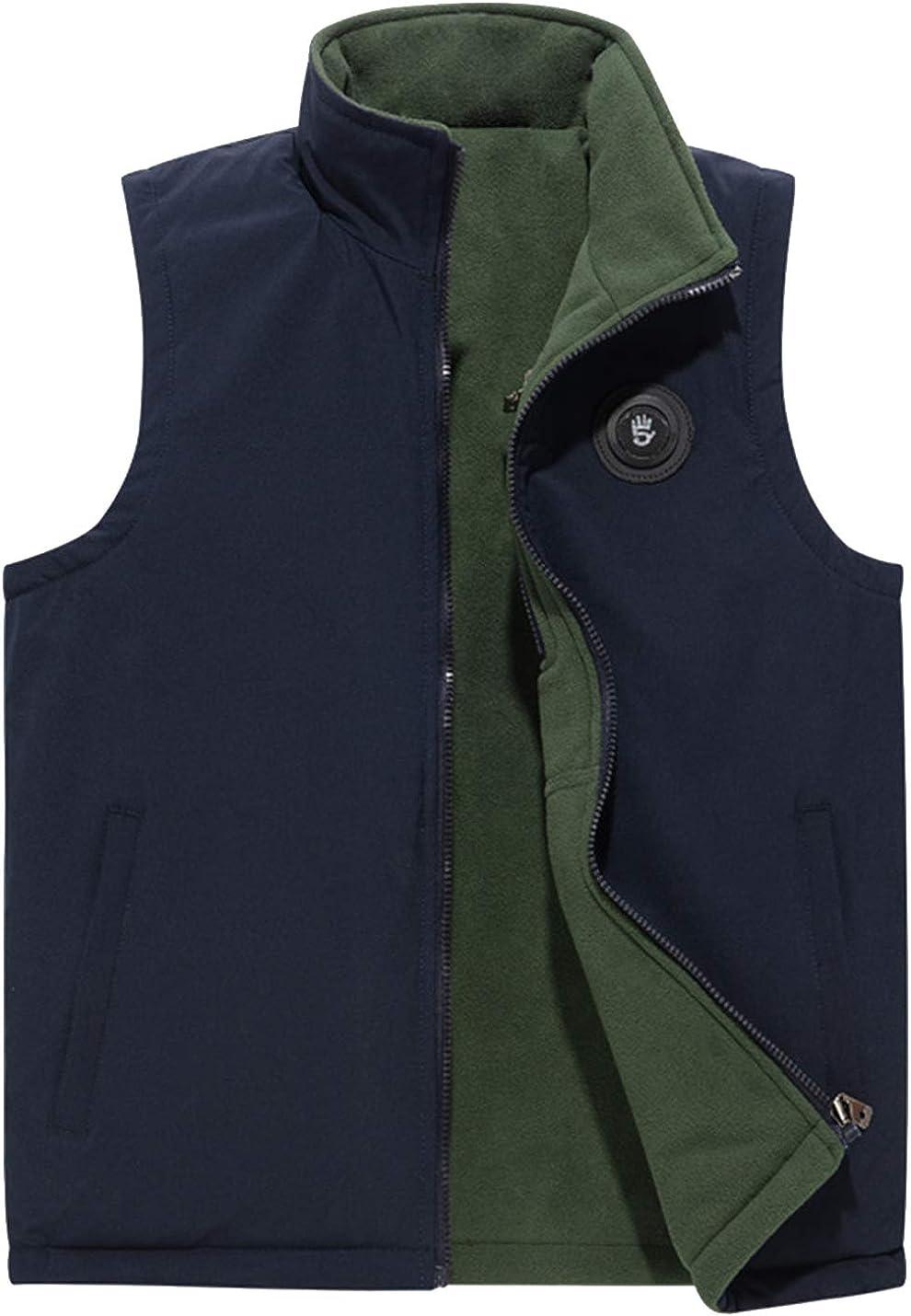 Flygo Men's Reversible Lightweight Softshell Vest Zip up Fleece Lined Outdoor Padded Vest Sleeveless Jacket