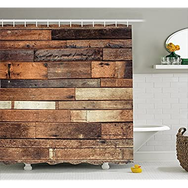 Ambesonne Wooden Shower Curtain Set, Rustic Floor Planks Print Grungy Look Farm House Country Style Walnut Oak Grain Image, Fabric Bathroom Decor with Hooks, 70 Inches, Brown
