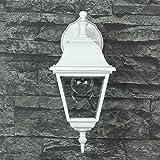 Wandlampe rustikal weiß LED geeignet IP44 1x E27 bis 60W 230V Hof Licht Beleuchtung Einfahrt Außenbereich Garten Wandleuchte nostalgisch