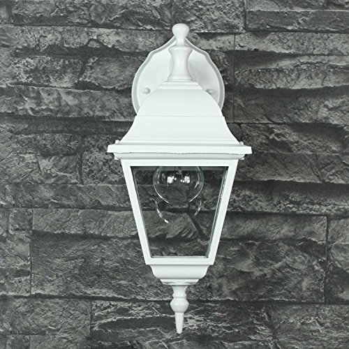*Wandlampe rustikal weiß LED geeignet IP44 1x E27 bis 60W 230V Hof Licht Beleuchtung Einfahrt Außenbereich Garten Wandleuchte nostalgisch*