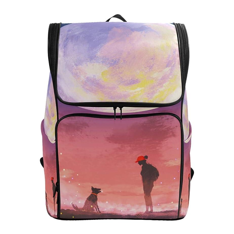 愛撫ファッション仮定するマキク(MAKIKU) リュック 大容量 リュックサック 風景 月 星柄 犬と人 レディーズ メンズ 登山 通学 通勤 旅行 プレゼント対応