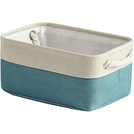 Small Storage Basket Shelf Basket Fabric Collapsible Organizer Bin Basket Storage Empty Gift Basket with Rope Handles Fabric Bin for Linens, Towels, Toys, Clothes (Teal,11.8Lx7.9Wx5.2H inch)