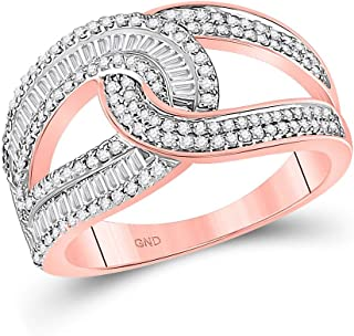 FB Jewels 14kt Rose Gold Womens Baguette Diamond Intertwined Band Ring 3/4 Cttw