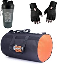 VELLORA Polyester Long Lasting Material, Duffel Bag, Gym Bag with Sport Sipper Water Bottle and Gloves