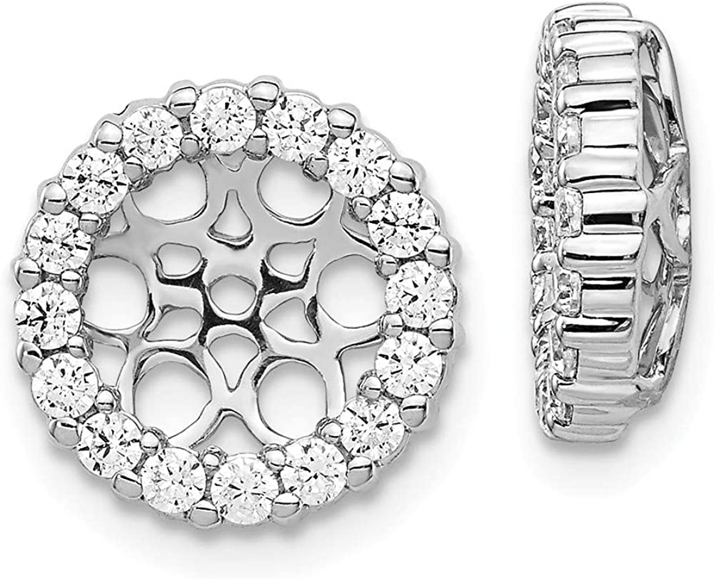 Solid 14K White Gold Diamond Earring Jackets 12mm (.696 cttw.)