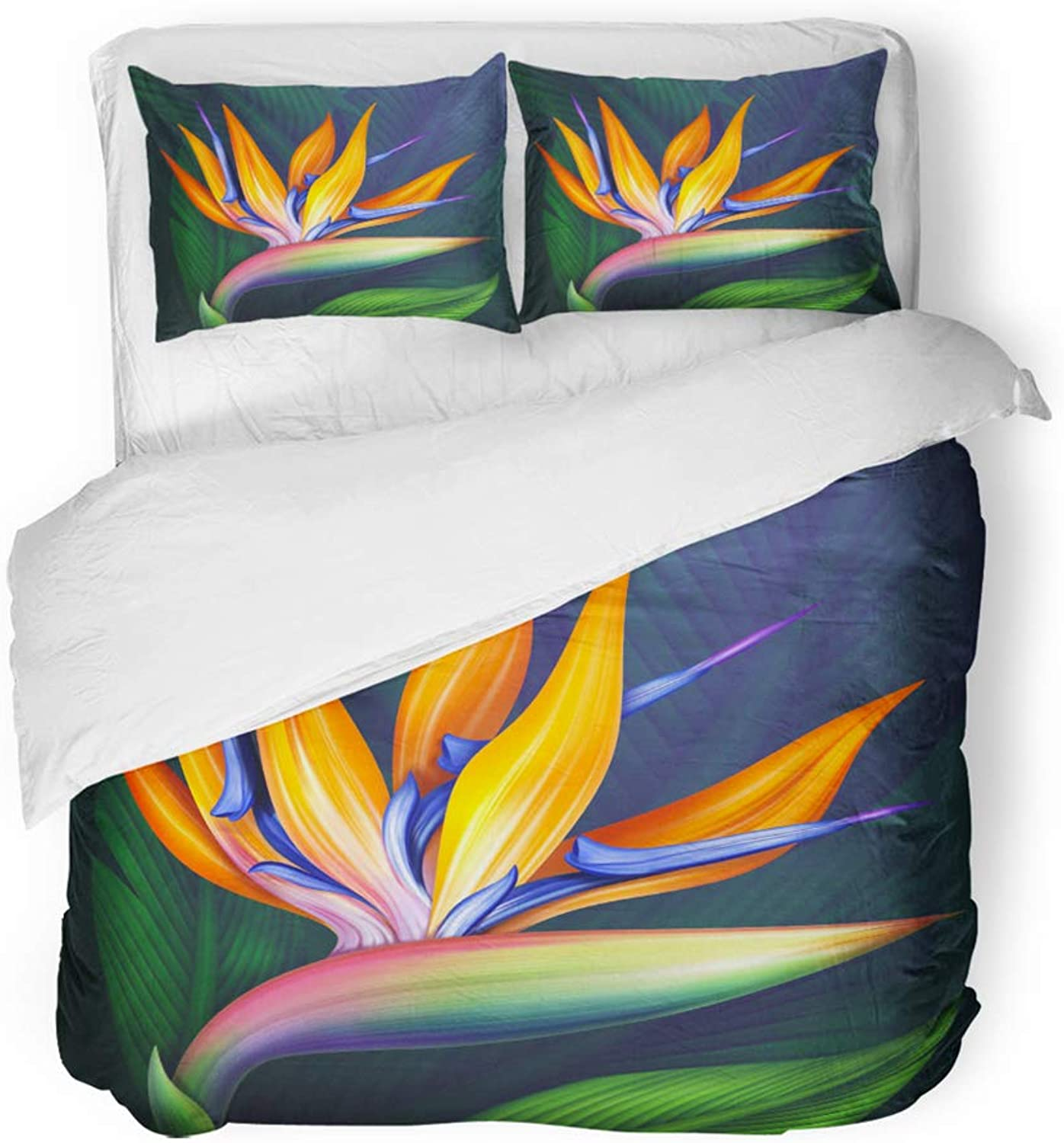 Emvency Decor Duvet Cover Set King Size colorful Hawaiian Strelitzia Bird of Paradise Exotic Flower Botanical Green 3 Piece Brushed Microfiber Fabric Print Bedding Set Cover