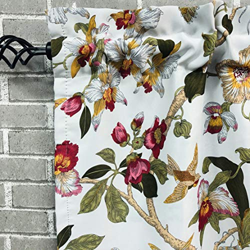 """1 Pair Retro Flowers Birds 24 Inch Length Tier Curtains for Windows Kitchen(29""""x 24"""" Pair of Tiers, Flowers)"""