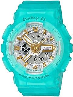 ساعة انالوج بعقارب ورقمية بسوار راتنج للنساء من كاسيو Baby-G - اخضر اكوا