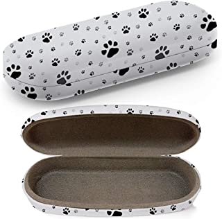 Hard Shell Glasses Protective Case with Cleaning Cloth for Eyeglasses and Sunglasses - Paw Print Traces Cat
