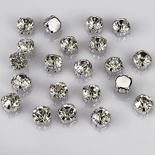Lollibeads™, strass tondi in cristallo di Boemia su castone, con base in ottone placcato in argento, per lavori di cucito fai da te, Vetro, White Crystal-10mm-50pcs
