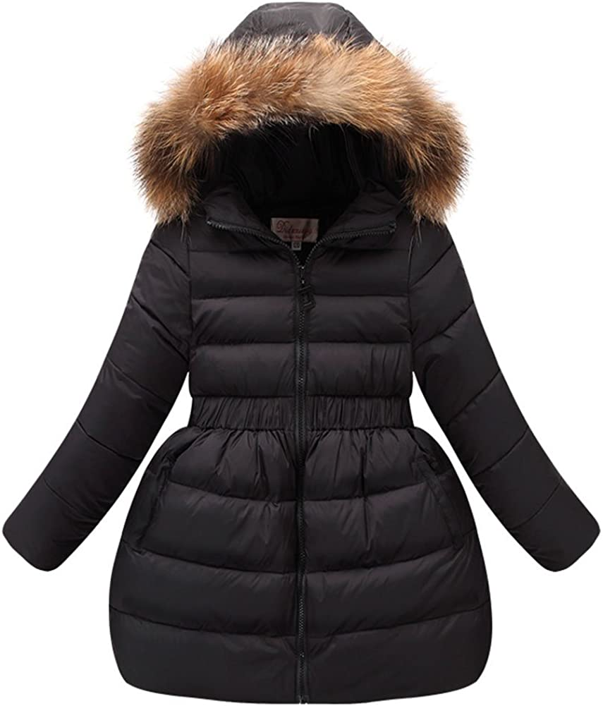 M&A Girls Winter Coat Fur Hooded Puffer Jacket with 80% Down Parka Overcoat