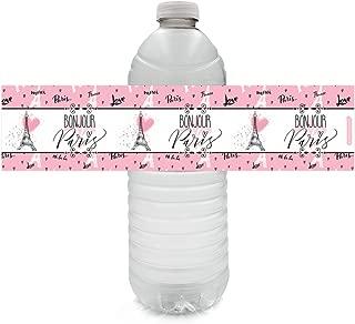 Paris Party Favor Water Bottle Labels, 24 Count