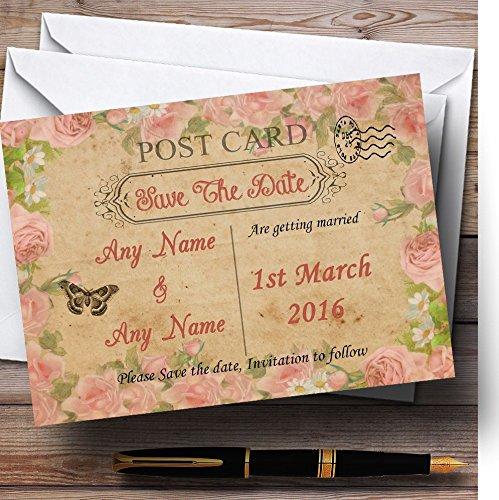 Sla de datum kaarten roze rozen Vintage Shabby chique ansichtkaart gepersonaliseerd met enveloppen - elke aangepaste tekst voor elke gelegenheid 40 Cards & Envelopes roze