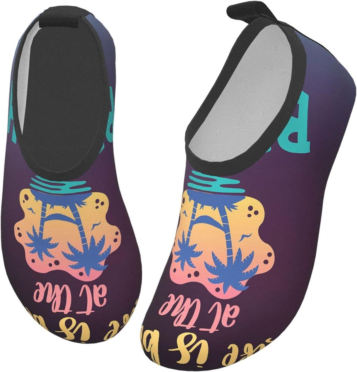 wobzfrok Life is Better at The Beach Surfing Summer Kids Water Shoes Girls Boys Toddler Non-Slip Quick Dry Aqua Socks for Beach Swim Walking 24/25