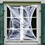 ArtCreativity Telaraña decorativa para Halloween, juego de 12 telarañas superelásticas con araña de plástico, decoración para interior y exterior, multiusos