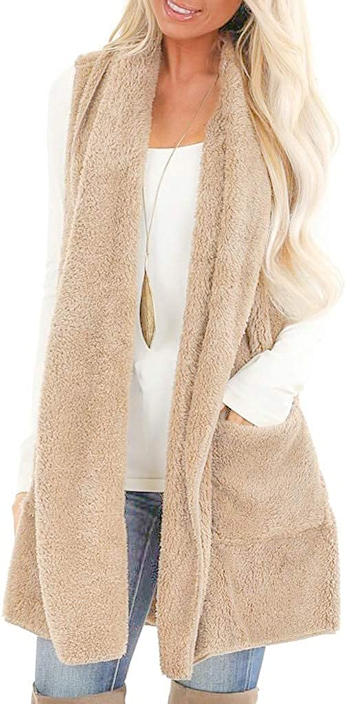 XQXCL Coats for Women, Womens Sleeveless Outwear Faux Fur Fluffly Shaggy Cardigan Vest Vintage Jacket Long Trench Coat