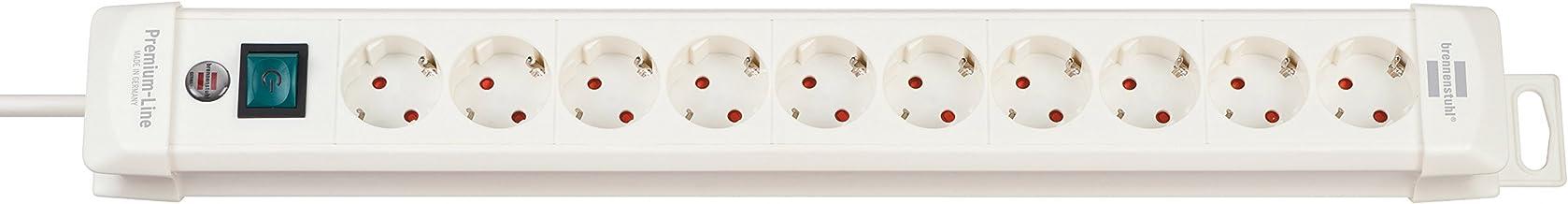 Brennenstuhl Premium-Line Stekkerdoos, 10 stopcontacten, stekkerdoos met schakelaar, hoek van 45 graden 10-voudig. wit