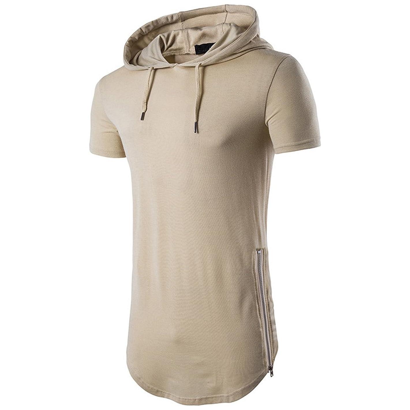 WUAI Men's Short Sleeve Hoodie Casual Fashion Outdoor T-Shirt Blouse