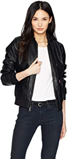 Two-Pocket Faux Leather Hooded Bomber Jacket