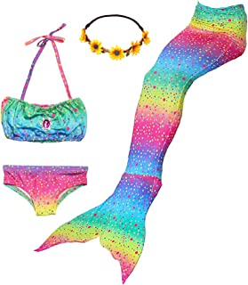 Girls Swimsuit 3Pcs Mermaid Tails for Swimming Costume Party Supplies Swimsuit Swimwear Bikini for 3-12Y