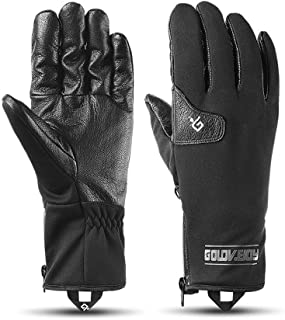 TAESOUW-Accessories Winter Warm Ski Gloves Men and Women Outdoor Motorcycle Riding Waterproof and Windproof Leather Plus Velvet Thick Leather Ridding (Color : Black, Size : M)