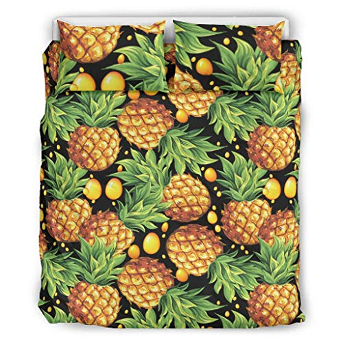 WellWellWell Pineapple Fruit Three-Piece Bed Set Easy Fit Coverlet Bed Sets Twin & Queen Sheet Set-3 Piece white 66x90 inch