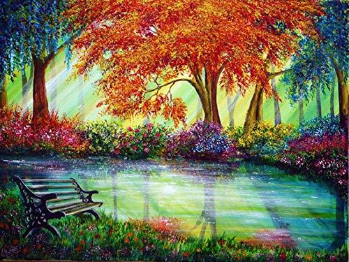 Digitaal schilderij met bloemenboom, kleur als geschenk, handgeschilderd op canvas, muurschilderij voor volwassenen en kinderen, 40 x 50 cm