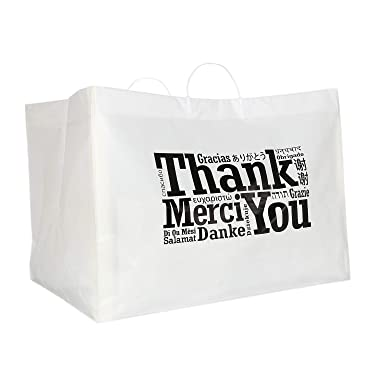 """Royal Recyclable Plastic Shopping Bags with Rigid Handles, 22 x 14 x 15 Inches, Multilingual""""Thank You"""" Design, Case of 50"""