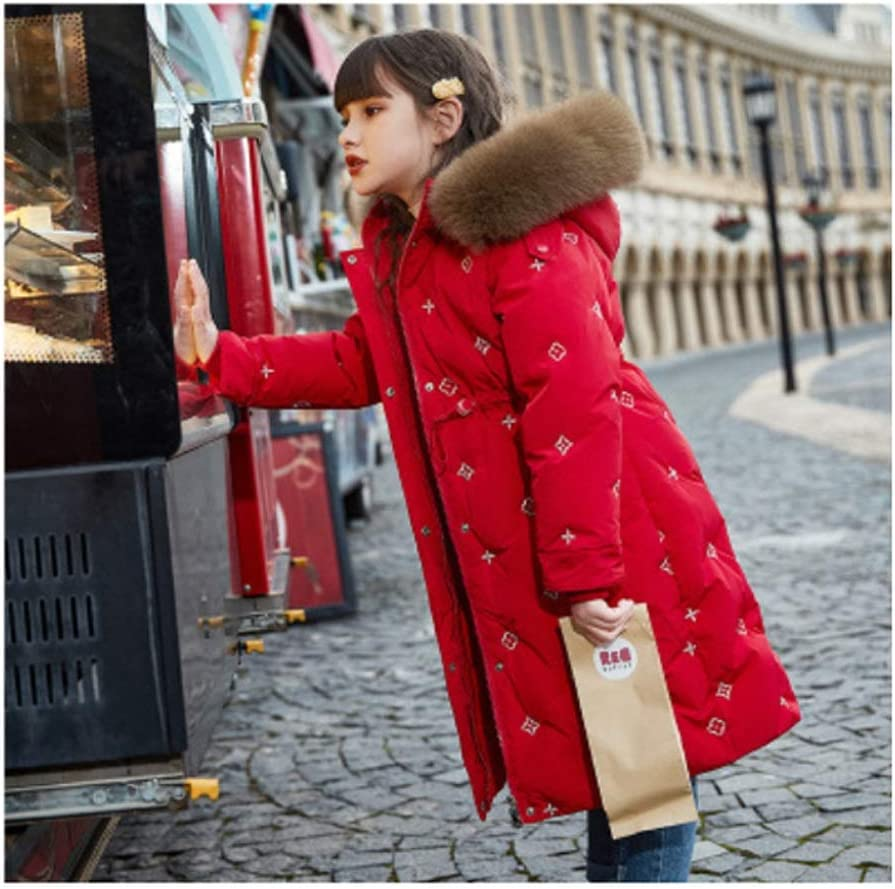 Down Jacket Baby Girl Down Jacket Coat Winter Warm Hooded Down Kids Outerwear Mid-Length Thick White Duck Down Jacket Down Jacket Gift (Color : Red, Size : 150)