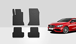 ToughPRO Floor Mats Set (Front Row + 2nd Row) Compatible with Mercedes-Benz CLA180 CLA200 CLA250 CLA45 AMG - (Made in USA) - Black Rubber - 2014, 2015, 2016, 2017, 2018, 2019