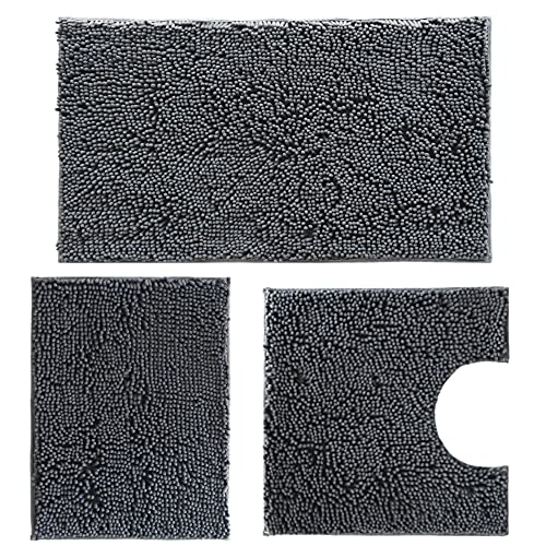 Bathroom Rug Sets 3 Piece Chenille Bath Mat Set, Extra Soft, and Absorbent Shaggy Rugs, Machine Wash and Dry, Perfect Plush Bath Mat for Tub, Shower, Bath Rugs, Washable Carpets Set Bathroom mats