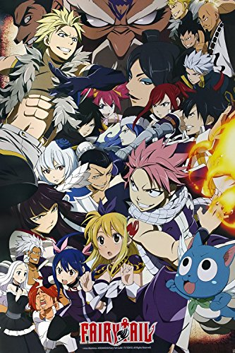 Fairy Tail - Anime TV Show Poster/Print (Fairy Tail vs. Other Guilds - Character Collage) (Size: 24 inches x 36 inches) (Black Poster Hanger)