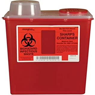 (8881676285) Monoject Multi-purpose Sharps Containers, 8 Quart, Red Base, Chimney Top - 1/Case of 20 by COVIDIEN
