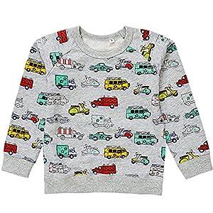 KISBINI ベビー Tシャツ 長袖 男の子 子供服 ボーイズ 綿 車柄 可愛い 春 秋 冬 2-7歳 (5T, グレー)