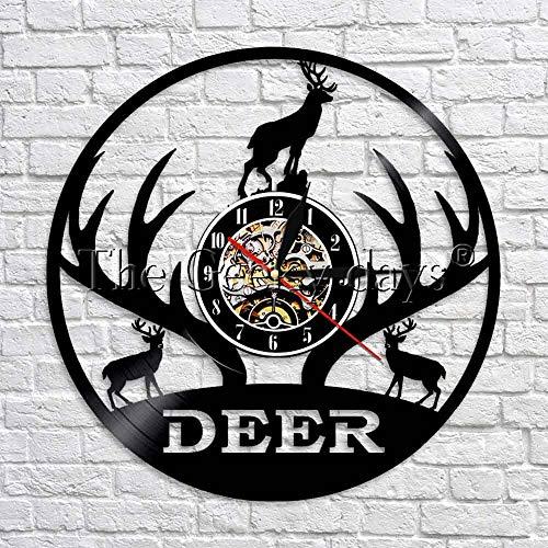 wtnhz LED-Reloj de Pared con Registro de Vinilo Art Deco de Pared con diseño de astas, Reloj de Pared 3D de Cazador de Ciervos del Bosque, Reloj de Pared 3D, Mejor Regalo Hecho a Mano con Animales